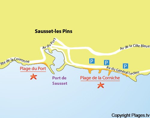 Map of Corniche Beach in Sausset les Pins