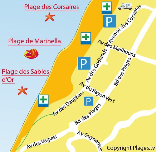 Map of Corsaires Beach in Anglet