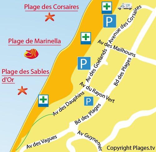 Carte de la plage des Corsaires à Anglet