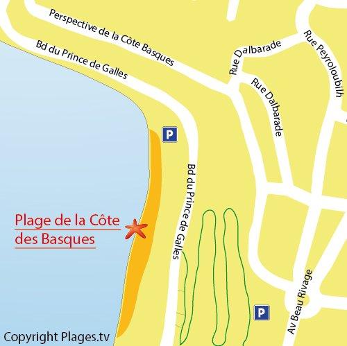 Map of Cote Basques beach in Biarritz