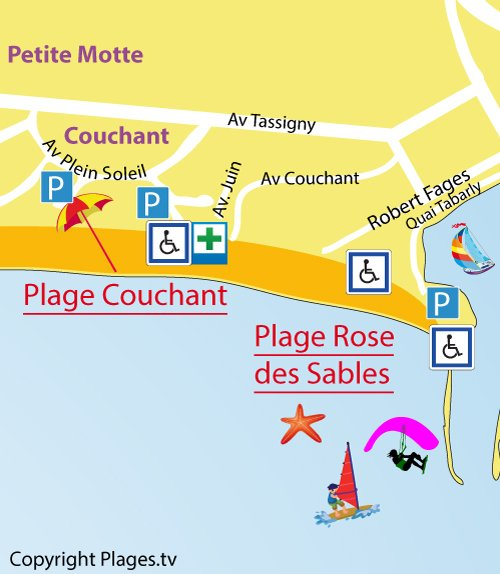 Map of the Couchant Beach in La Grande Motte