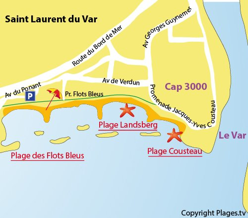 Map of Cousteau Beach in Saint Laurent du Var