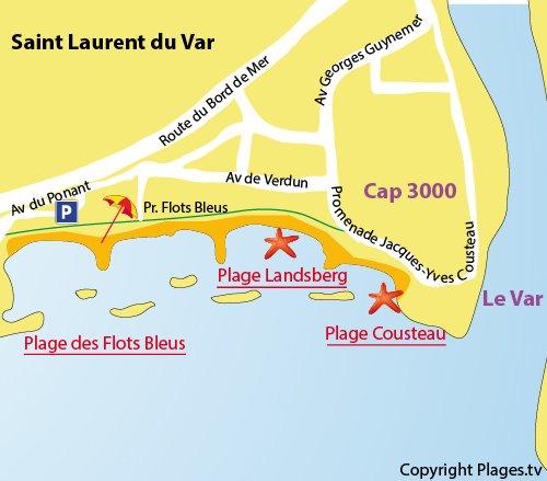 Plan de la plage Cousteau à St Laurent du Var