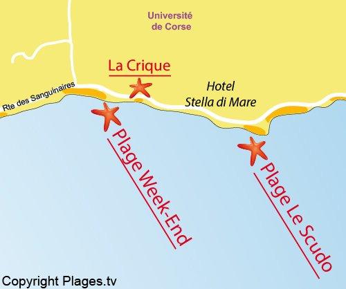 Carte de la plage de la Crique à Ajaccio