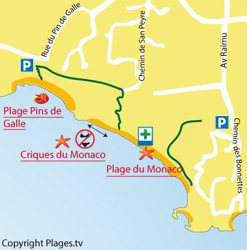 Map of nudist cove in Le Pradet