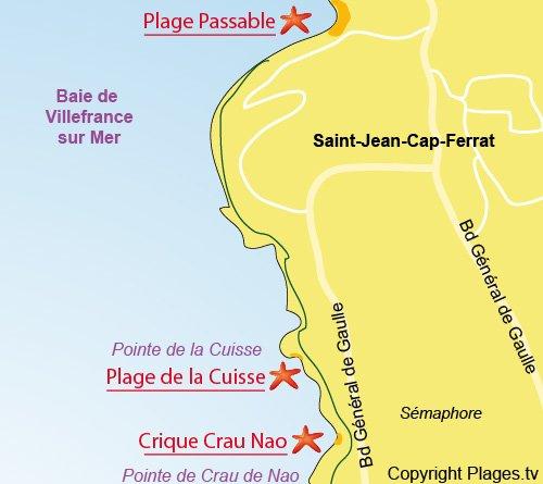 Map of Cuisse Beach in St Jean Cap Ferrat