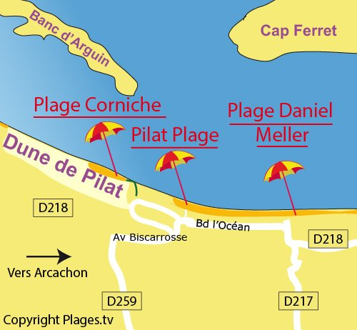 Map of Daniel Meller Beach in Pyla sur Mer