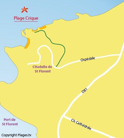 Plan de la plage de la Crique à Saint Florent