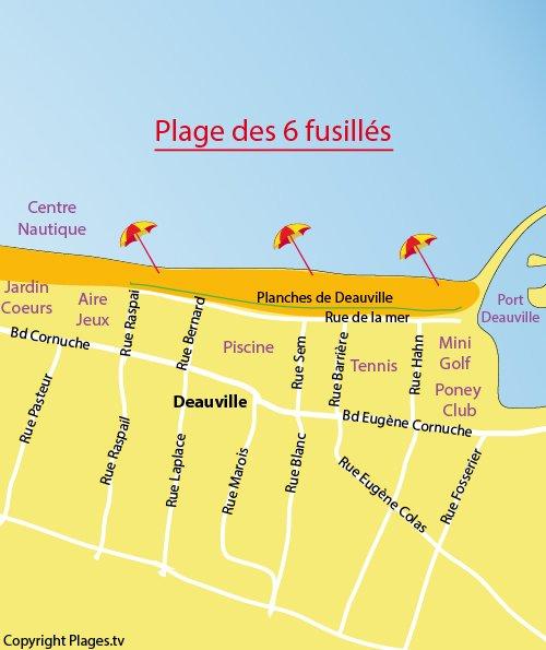 Carte de la plage de Deauville