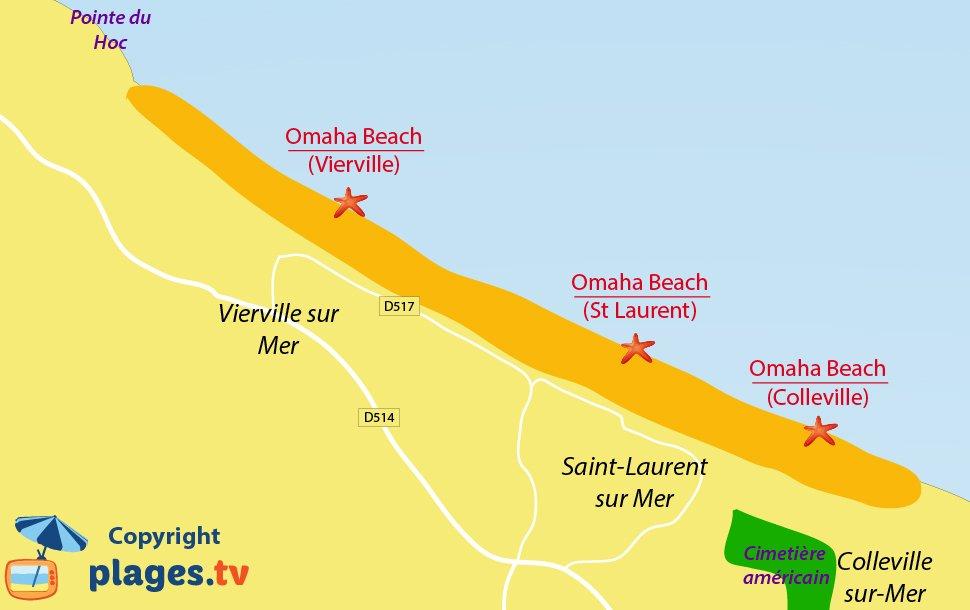 Plan de la plage du Débarquement Omaha Beach - Normandie