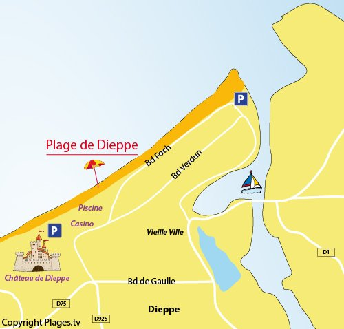 Map of the Dieppe beach in Normandy