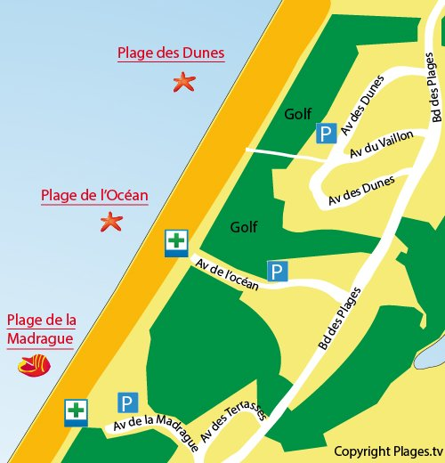 Map of Dunes Beach in Anglet