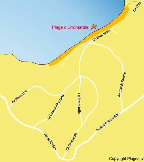 Map of Erromardie Beach in St Jean de Luz