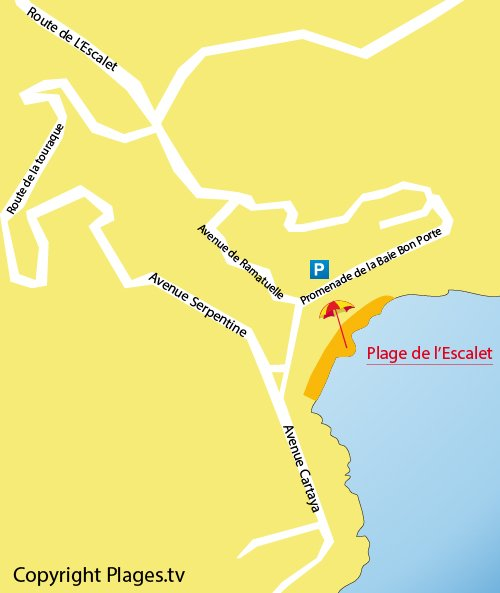 Map of Escalet Beach in Ramatuelle