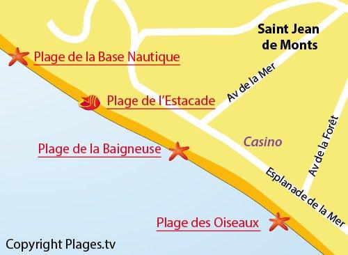 Map of Estacade Beach in St Jean de Monts