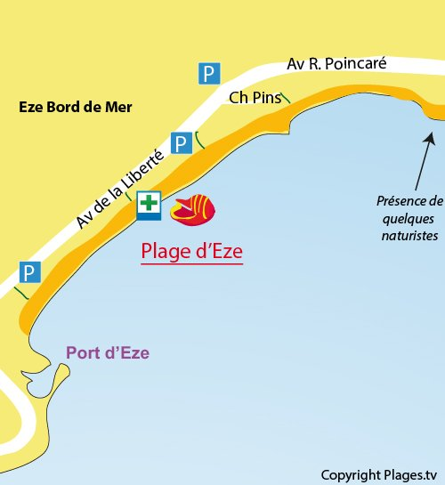 Map of Eze beach on the french riviera