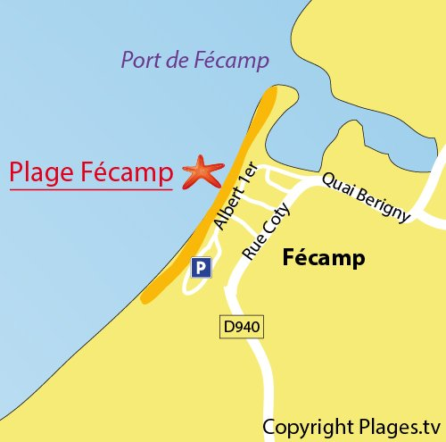 Map of the Fecamp beach in Normandy