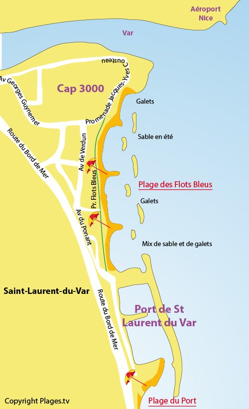 Plan de la plage des Flots Bleus à St Laurent du Var