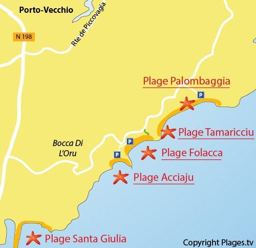 Carte de la plage de Folacca à Palombaggia - Porto-Vecchio