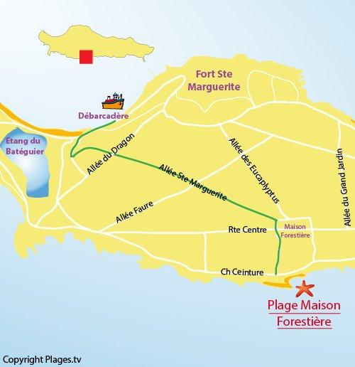 Carte de la plage de la maison forestière sur l'ile de Lérins