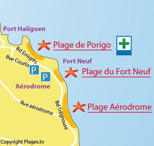Mappa della Spiaggia del Fort Neuf a Quiberon