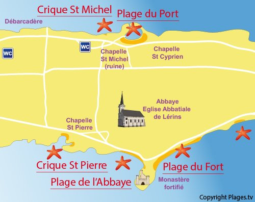 Plan de la plage du fort  de St Honorat