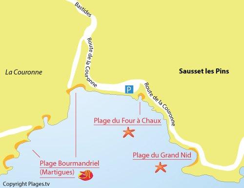 Mappa della Spiaggia del Four à Chaux a Sausset les Pins