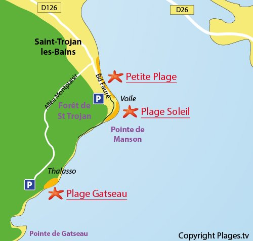 Map of Gatseau Beach in Saint Trojan les Bains