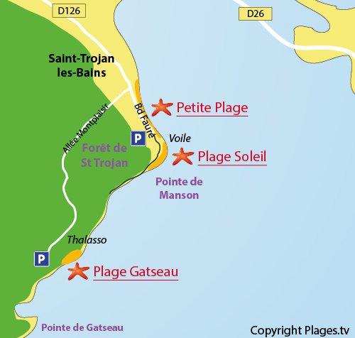Map of Gatseau Beach in Saint Trojan les Bains