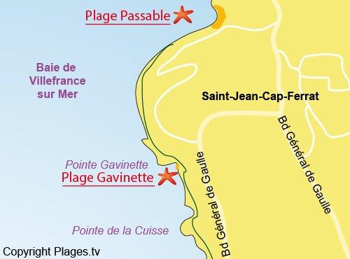Map of Gavinette Beach in Saint Jean Cap Ferrat