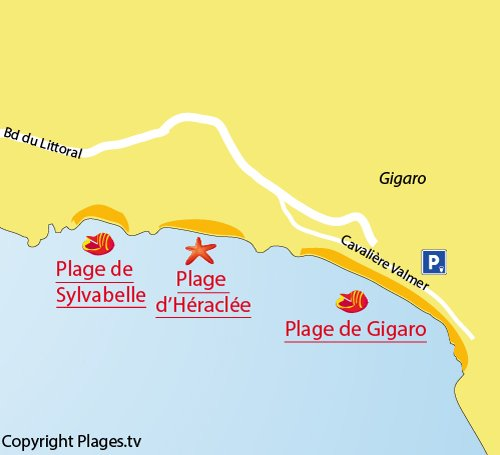 Map of Gigaro Beach in La Croix Valmer