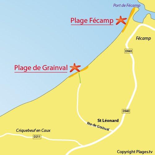 Plan de la plage de Grainval en Normandie