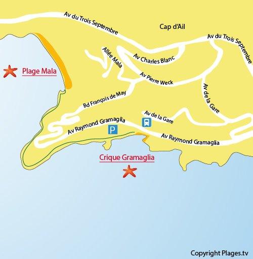 Plan de la plage Gramaglia au Cap d'Ail