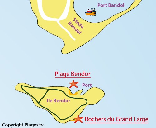 Map of the Grand Large beach on the Bendor Island - France