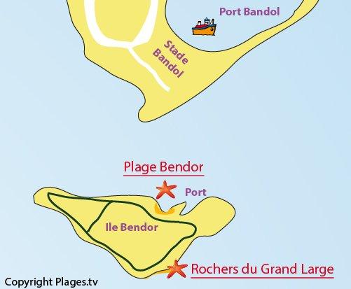 Plan de la plage du Grand Large sur l'ile de Bendor