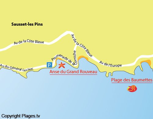 Map of Grand Rouveau Beach in Sausset les Pins