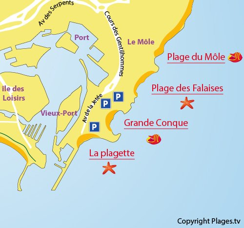 Map of the Grande Conque Beach in Cape d'Agde