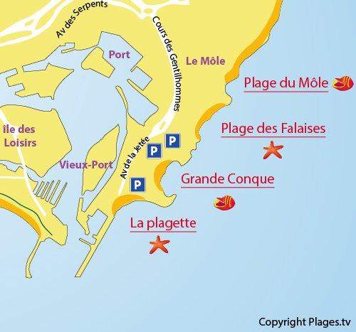 Carte de la plage de la Grande Conque au Cap d'Agde