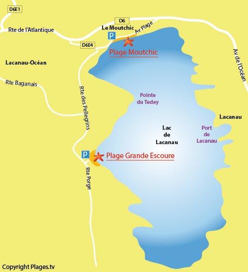 Map of Grande Escoure Beach in Lacanau