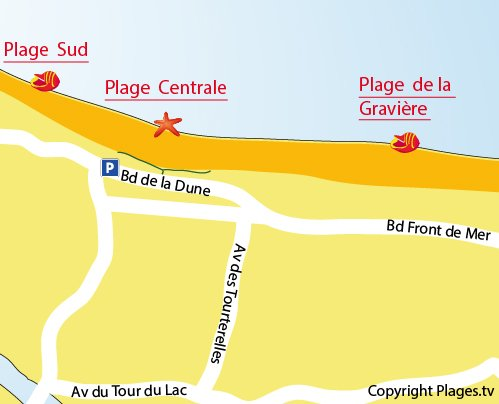 Map of Gravière Beach in Hossegor
