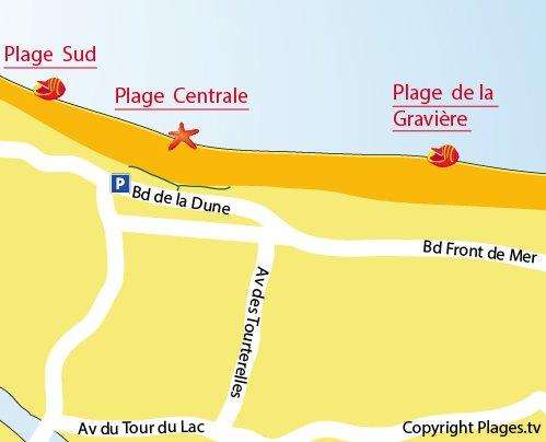 Map of Gravière Beach in Hossegor
