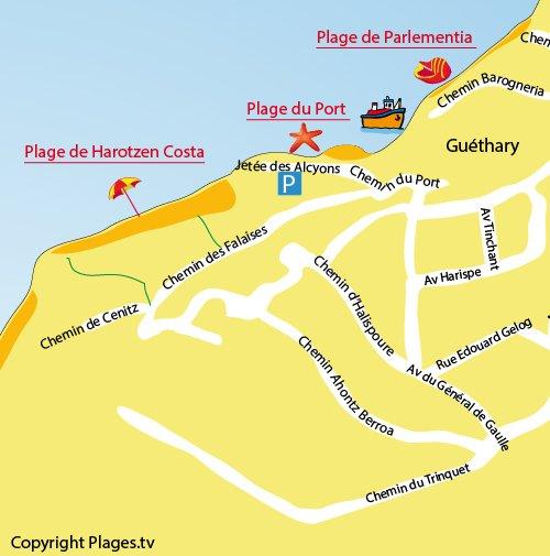 Carte de la plage de Harotzen Costa à Guéthary