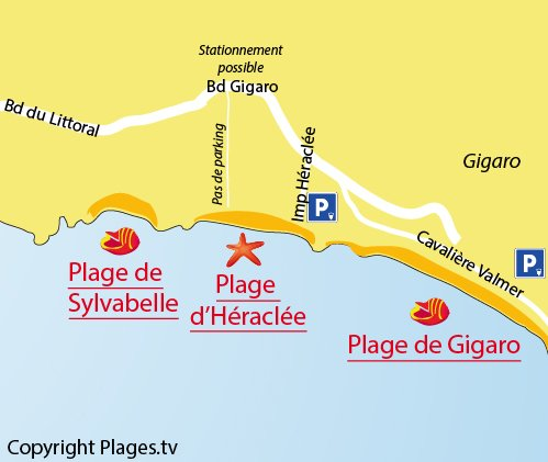 Map of the Héraclée Beach in La Croix Valmer