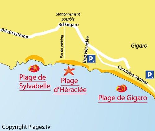 Plan de la plage Héraclée à La Croix Valmer