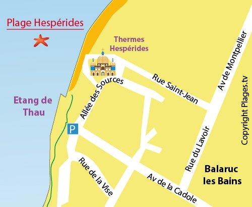 Carte de la plage Hespérides à Balaruc les Bains
