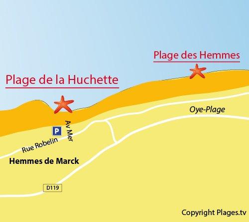 Plan de la plage de la Huchette à Hemmes de Marck