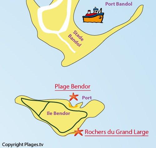 Mappa della spiaggia di Bendor a Bandol