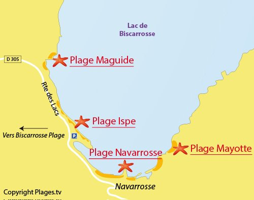 Map of Ispe Beach in Biscarrosse lake