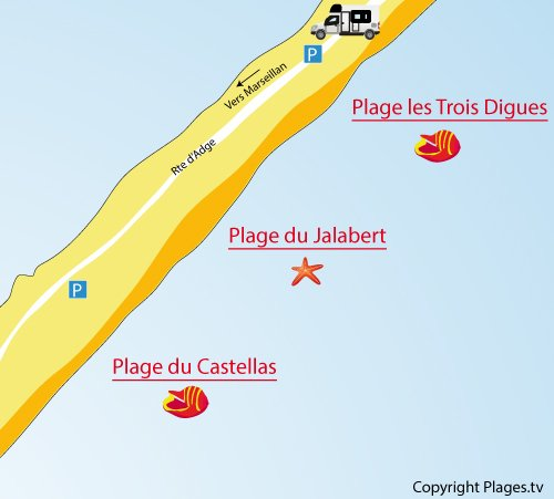 Map of Jalabert Beach in Sète