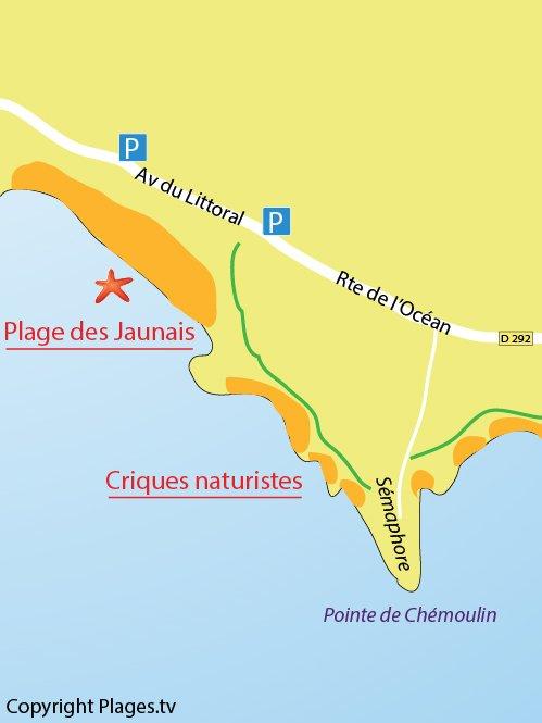 Map of Jaunais Beach in St Nazaire
